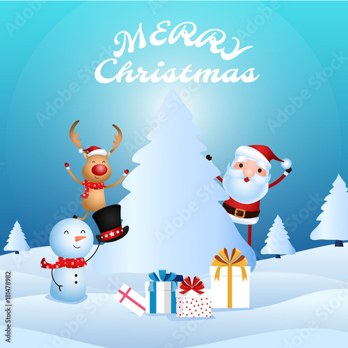 Foto op Canvas Turkoois Cheerful santa claus, snowman, reindeer are christmas companion. Christmas presents in snow scene. Merry christmas and happy new year.