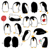 Set Of Isolated Funny Penguins.