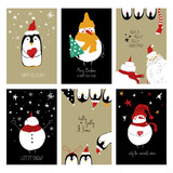 Set Of Retro Funny Christmas Cards.