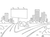 Road city graphic black white landscape billboard sketch illustration vector - 181482160
