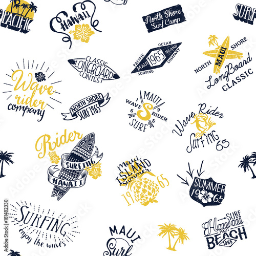 Cotton fabric Surfing Hawaii vector seamless pattern