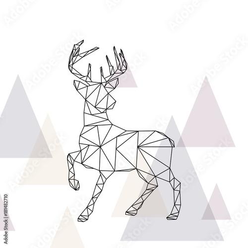 Plexiglas Hipster Hert Rentier aus Dreiecke
