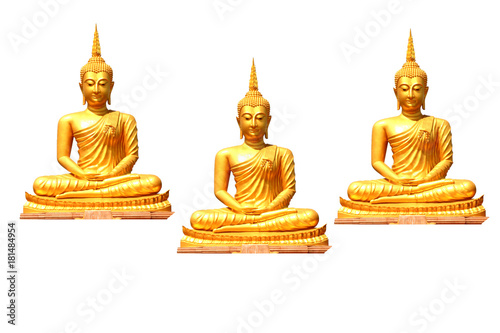 Aluminium Boeddha Gold statue sitting 3 buddha on isolated white background