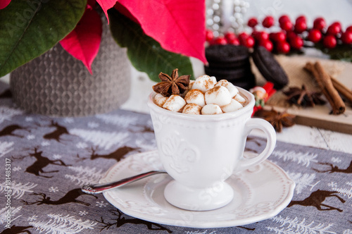 Poster Cup of hot cocoa with marshmallow with Christmas decorations