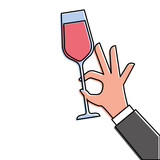 hand holding champagne glass cheers celebration - 181489535