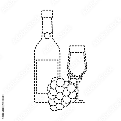 bottle champagne or wine and glass with bunch of grapes celebration