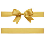 Gold bow tied using silk ribbon, cut out top view - 181490550