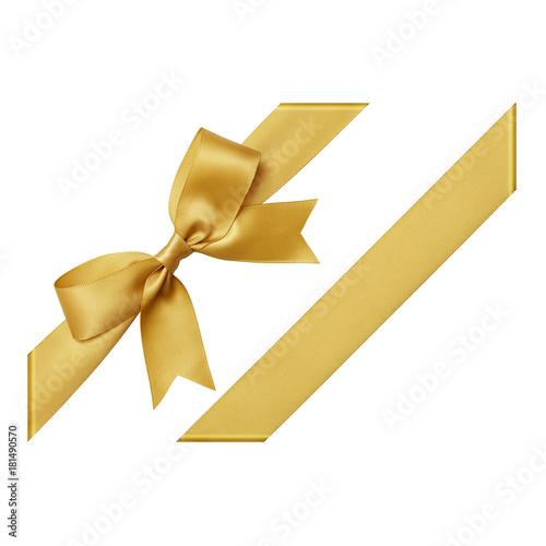 Złoty łuk wiązany za pomocą jedwabnej wstążki, wycięty widok z góry, narożnik