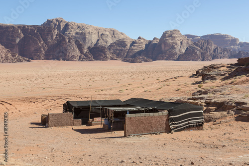 Adventure Camping hotel among the deserts in Middle east asia at Wadi rum desert Poster