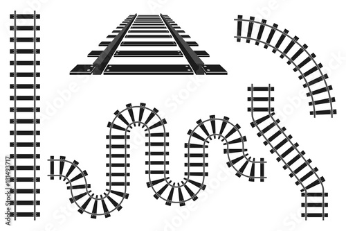Train railway road rails constructor elements vector illustration - 181493717