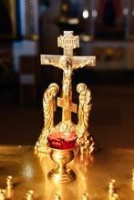 """Постер, картина, фотообои """"the Orthodox Church attributes, font ,icon ,cross , prayer room inside the Church"""""""
