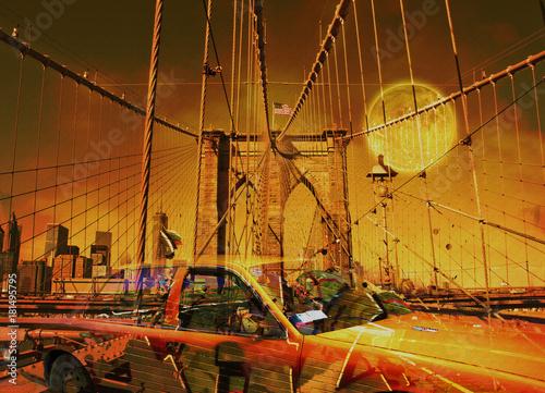 Fototapeta Yellow cab. 3D rendering.