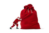 Close up of Santa Claus pushing huge bag of presents isolated on white background - 181497589