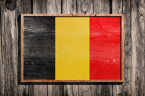 Foto op Canvas Brussel Wooden Belgium flag