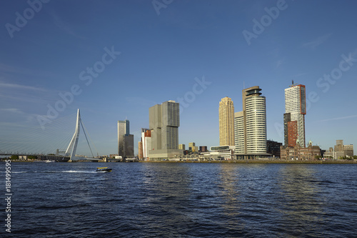 Foto op Canvas Rotterdam Rotterdam skyline with Erasmus Bridge. Rotterdam, South Holland, Netherlands.