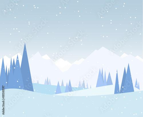 Poster Lichtblauw Winter forest illustration