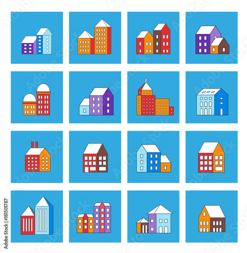 Fotobehang Blauw Christmas winter flat city xmas icon urban building for holiday and design