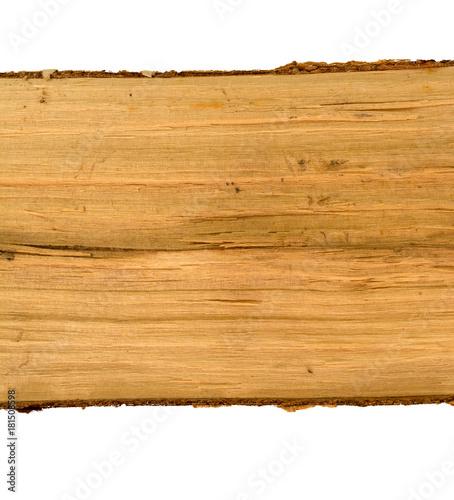 Braunes Holz mit Struktur und Rinde isoliert auf weiß - 181508598