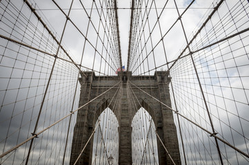 Brooklyn Bridge, New York City close up architectural detail