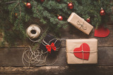 Christmas background with decoration and gifts  - 181511394