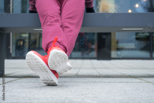 Woman wearing sportswear sporty shoes