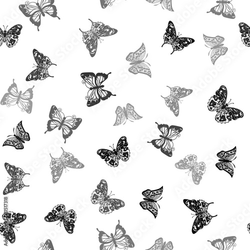 Poster Vlinders in Grunge Repeating white-black pattern with silhouettes butterflies (vector)