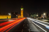 Night Traffic on Westminster Bridge By Big Ben, London, England - 181518567