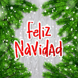 Hand drawn calligraphy Merry Christmas  in spanish language. Feliz navidad. concept handwritten  - 181518575