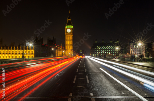 Staande foto Londen Night Traffic on Westminster Bridge By Big Ben, London, England