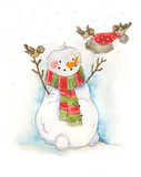 Watercolor illustration with little bird and snowman. Christmas child illustration. Happy new Year. - 181520327