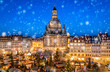 Leinwandbild Motiv Advent auf dem Neumarkt in Dresden