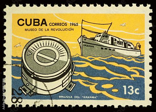 Keuken foto achterwand Schip Cuban ship Granma on postage stamp