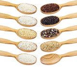 Rice collection. Different types of rice in wooden spoons isolated on white background - 181525774