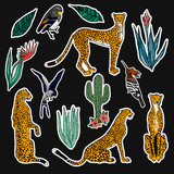 Set of leopards and plants patches elements. Set of stickers, pins, patches and handwritten notes collection in cartoon 80s-90s comic style.Vector stikers kit