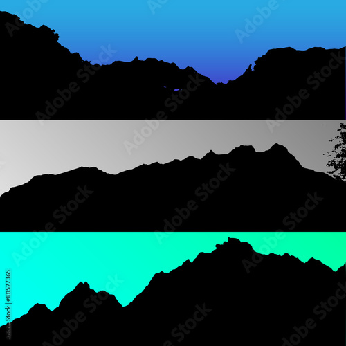 Foto op Canvas Zwart Set of vector hills and mountain landscape silhouette. Realistic trees, woods on hill silhouettes on night and evening sky. Outdoor nature scene