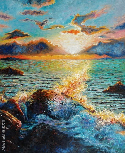 Original oil painting on canvas - Seascape - A sea wave beating against a stone. Counter Light - Impressionism - Modern Art © shvets_tetiana