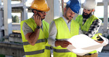 Architect consult engineer on construction site - 181527939