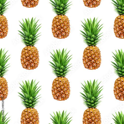 Pineapple seamless pattern isolated on white background © xamtiw