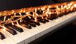 Christmas lights on a piano keyboard