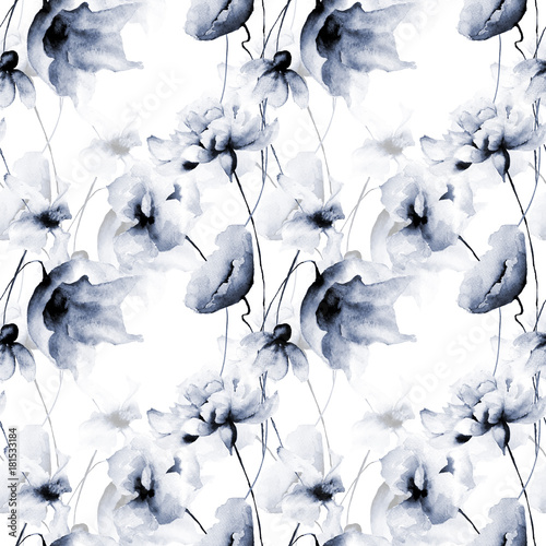Seamless wallpaper with blue flowers