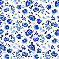Vector amazing patterns of flowers and birds in Gzhel style. Russian pattern