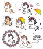 colorful drawing with unicorns with rainbow colors and stars on a white background