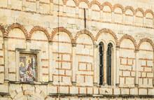 "Постер, картина, фотообои ""Novi Sad, Srbija - October 16, 2017: The window on the Orthodox ""Church of the Nativity of the Mother of God "" in Sremska Kamenica """