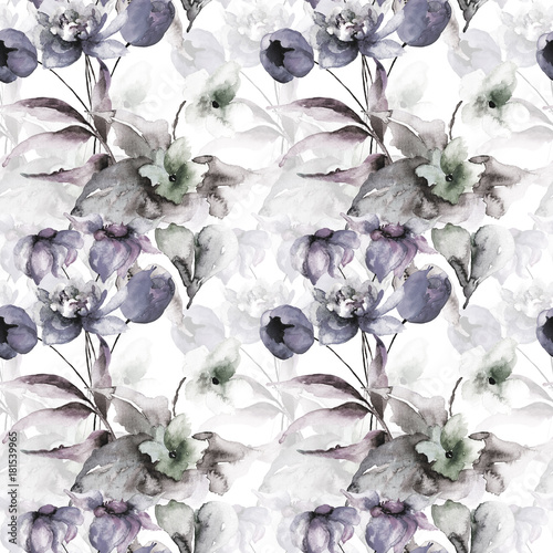 Seamless pattern with wild flowers - 181539965