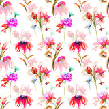 Seamless pattern with Garden flowers