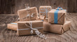 Vintage gift boxes with bow on wood
