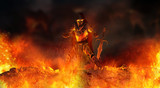 warrior knight surrounded in flames - 181543173