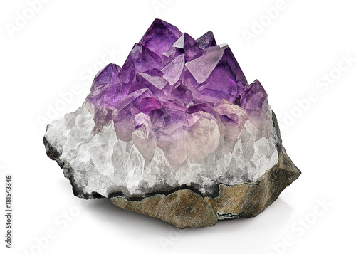 Crystal Stone macro mineral, purple rough amethyst quartz crystals on white background - 181543346