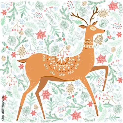 Fotobehang Hipster Hert Vector Christmas greeting card with deer