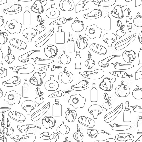 Fototapeta Vector seamless pattern of flat food and drink